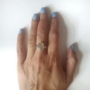 Rutilated Quartz Oval Silver Ring